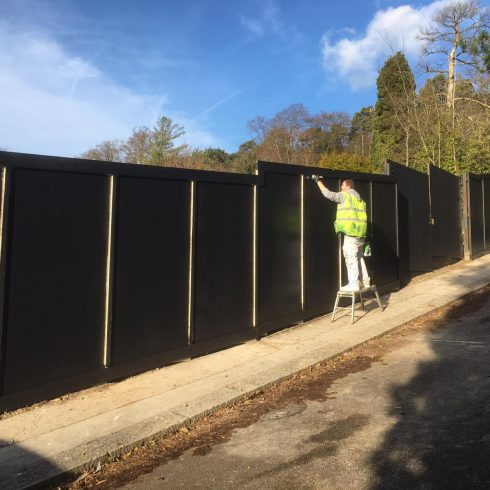 Site Gates and Construction Site Hoarding Painted Timber Clad Copyright 2020 Just Hoarding